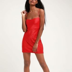 NWT Lulus Red Satin Mini Dress